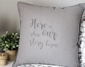 Hipster wedding quote Pillow, vintage print by hand. Unique gift or wedding decor. Original Valentines gift.