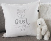 Name pillow for boys and baby with birthdate and bear illu. Unique gift for a baby shower, christening, kids birthday, kids room decoration