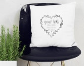 YOUR TEXT printed in a wreath heart on a beautiful quality pillow or fabric Art print to be framed. Perfect personal gift! Handprinted