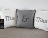 Mr & Mrs wedding pillows, Hipster style. Unique wedding decor, wedding gift, for Valentine, an anniversary or a birthday ...