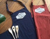 Luxury custom Mr and Mrs linen cotton apron, handprinted name or own logo in vintage graphics! A prefect couple gift, for granny or grandpa