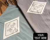 Custom couple apron from linen cotton quality, extra large, hand printed The cook The taster vintage graphics or names