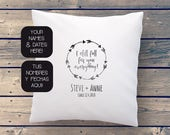 Anniversary pillow with personalized love declaration, names of the couple and wedding date, handprinted. Unique gift for Valentines day.