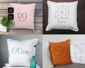 Elegant custom nursery Name pillow, handprinted vintage style. Unique gift for a baby shower, christening, birthday or kids room decoration