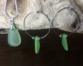 Sweet green sea glass silver hoops from quality stainless steel and matching real silver necklace. Handmade in the Basque Country, Spain.