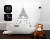 Name pillow for boys and baby with arrow and tent. Unique gift for a baby shower, christening, kids birthday, kids room decoration