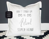 Name Pillow for boys with superhero quote Scandinavian style. Unique gift for a kids birthday or as boys room decoration, personalized print