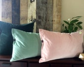 Luxury velvet pillow in powder pink, deep forrest green, rich charcoal grey, dusty turquoise, royal burgundy red. Classy and chic home decor