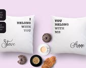 Customized pillow set with names of the couple and love quote. Unique gift for Valentine s day, an anniversary, a birthday or as love decor