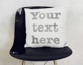 YOUR TEXT cushion pillow. Personalized with name, date your phrase, handprinted! Original gift for mum and dad, a Birthday, as Home decor.