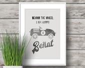 Personalized Art print with boy name and car quote. Hand printed vintage style. Original present for a Kids Birthday or as boys room decor.