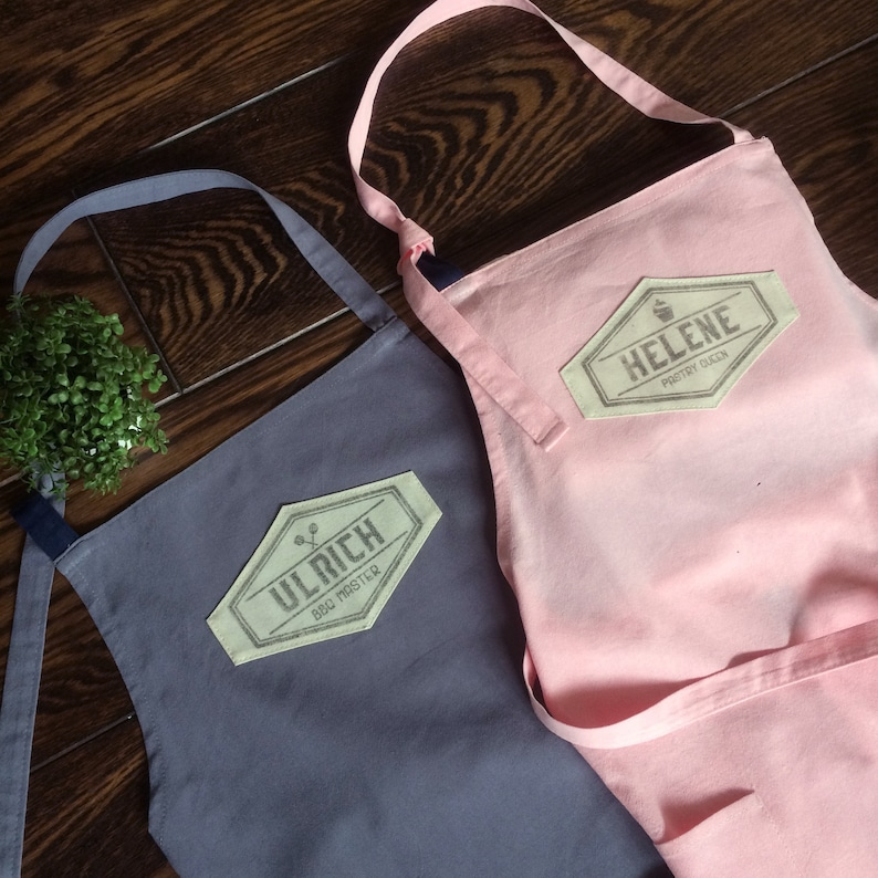 Extra large linen apron personalized with handprinted name or image 0