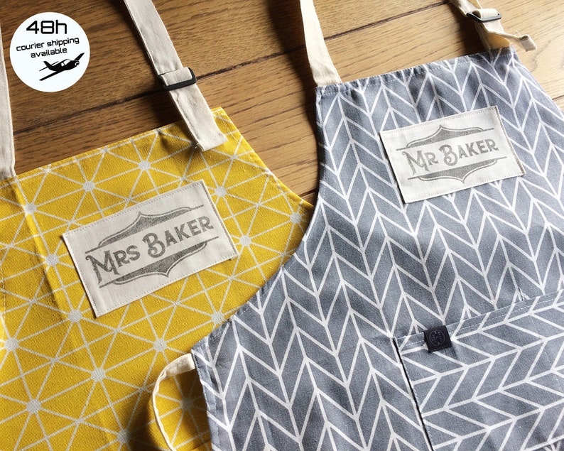Custom Mr and Mrs apron with your surnames handprinted in image 0