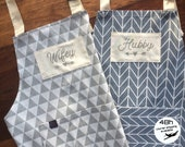 Custom hubby and wifey aprons handprinted. Geometric graphic quality cotton aprons! A couple gift, an anniversary, a new home, new year host