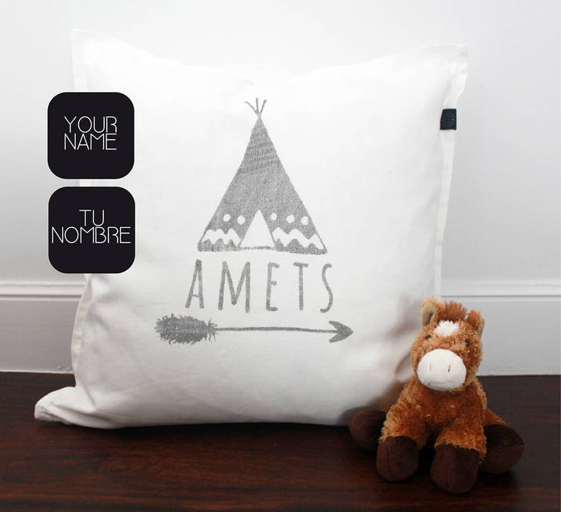 Name pillow for boys and baby with arrow and tent. Unique gift image 0