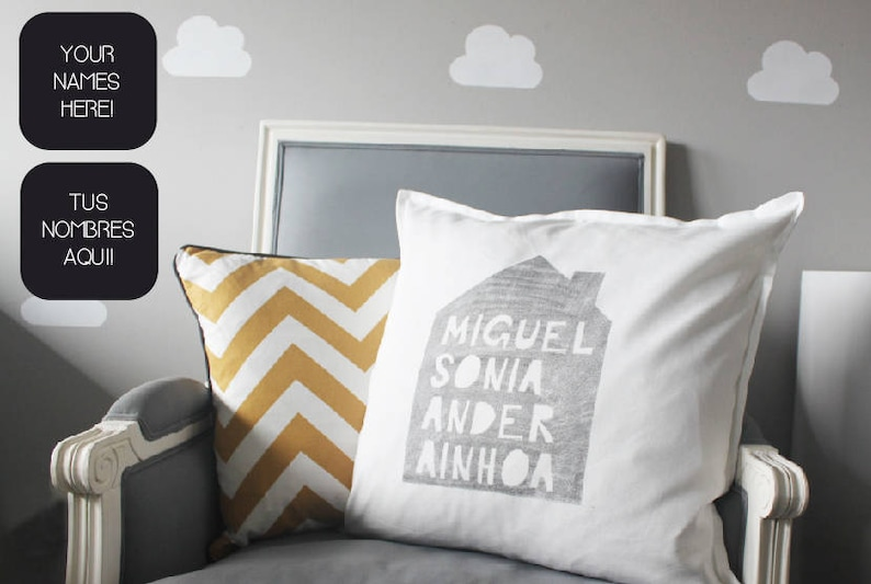 Pillow with family names personalized and handprinted. Unique image 0