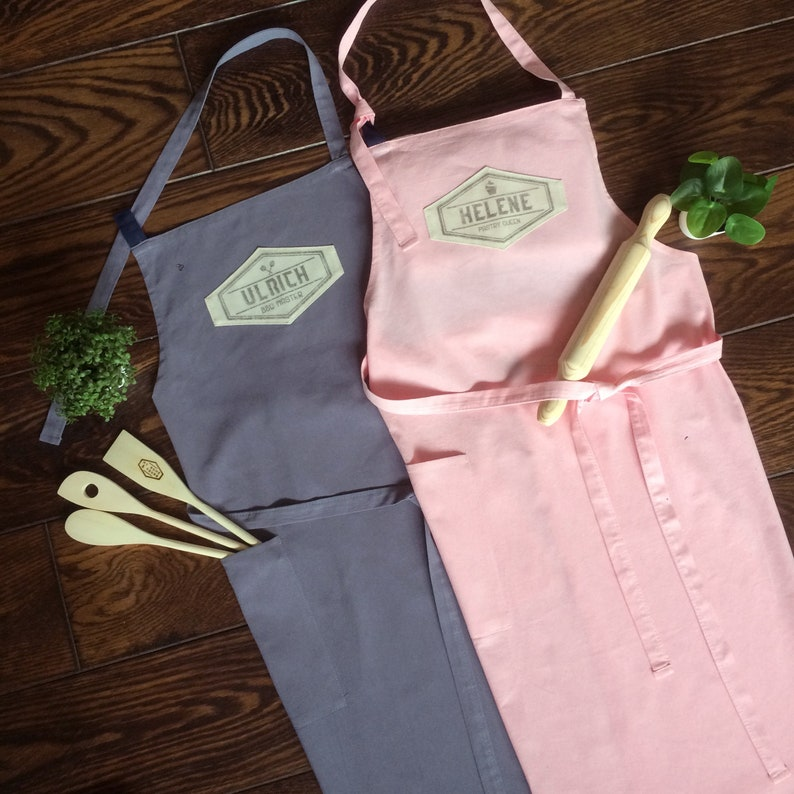 Custom couple apron from linen cotton quality extra large image 0