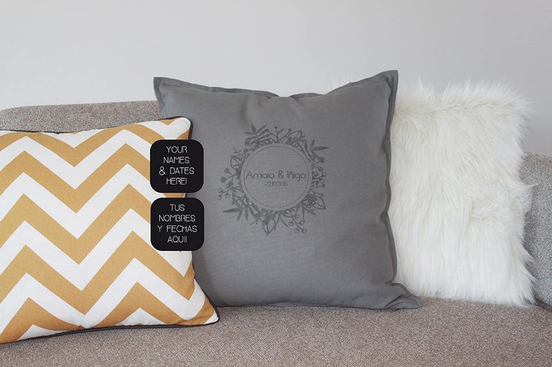 Custom wedding pillow with names and wedding date. Unique image 0