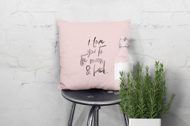 Handprinted quote pillow with love declaration for the new image 0