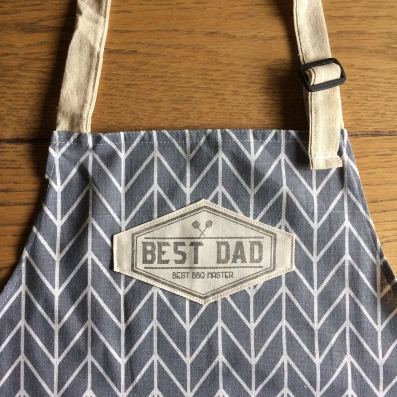 BBQ apron for the best dad or customized with your name For grey fishbone B
