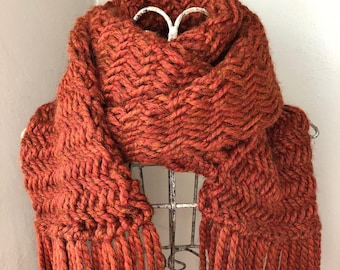 Herringbone scarf, knitted scarf, open ended scarf, || The Willow ||