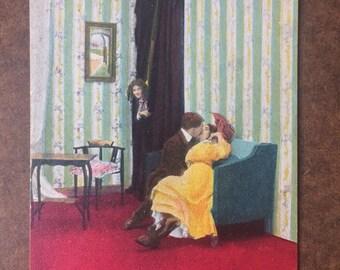 Postcard 1910 Lovers Kissing Vintage Edwardian Valentine