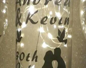 Personalised wedding gift light up wine bottle