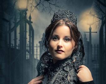 Black Crown Gothic headpiece Vampire gothic Crown Evil queen crown black crown fascinator tiara Cosplay crown Lace Crown Headband swan crown