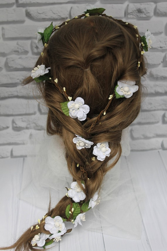 Flower girl Flower Hair Garland Head Wreath Flower Crown  0aadc3fd70d