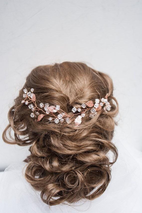 Fairytale Gift Rose Gold Hair Vine Rose Gold Hair Piece Rose Etsy