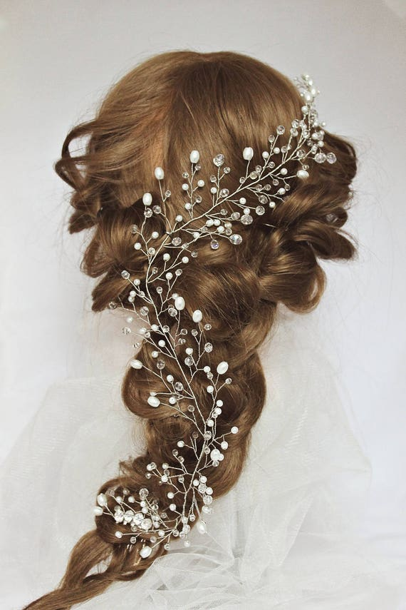 Rose Gold Wedding Hair Vine For Long Hair Crystal Garland Etsy