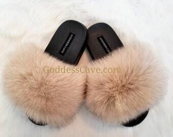 eeb3741ca424 Fur Slides - Nude Fox Slides - Fox Fur - Fast Shipping