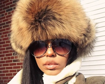 Fur Trapper Hat - Hat - Winter Hat - Vintage Hat - Leather Hat- Raccoon Hat bed4caeb21e7