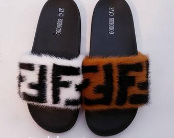 17ba6f7be22f Mink Fur Slides - Fendi Retro Zucca Print - FF Sandals - Vintage