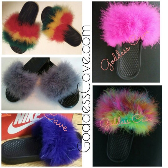 4c5bc14fe67aa4 ... Nike Duo Slides Rock Star Etsy lowest discount a414c c5013  Fuzzy Nike  Slides Etsy most popular dc454 21bbb ...
