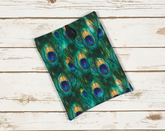 Peacock Feather Book Sleeve with Pockets