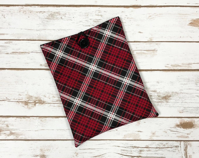Red Tartan Book Sleeve with Pockets