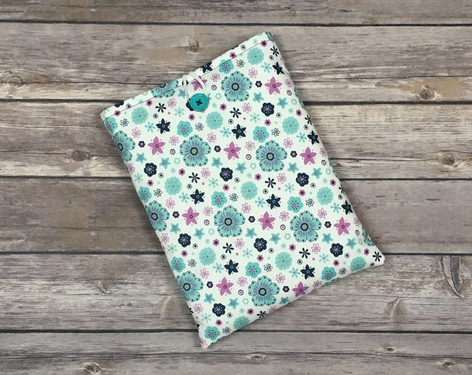 Blue Floral Book Sleeve with Pockets