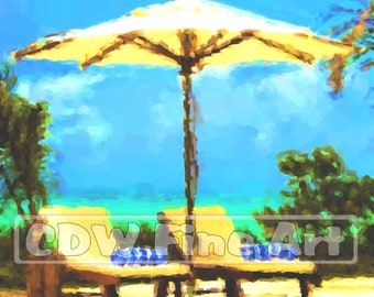 Pool Loungers at Kisawa, Zanzibar - Digital Oil Painting