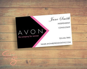 Avon business cards etsy avon sales representative business card digital design customized colourmoves