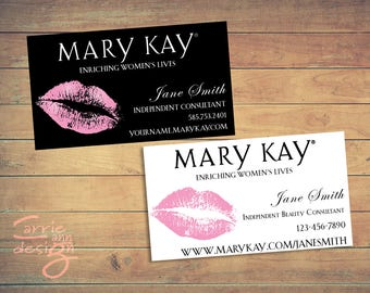 Mary Kay Business Cards, printable, lips, pink, custom, make-up, download Black and White