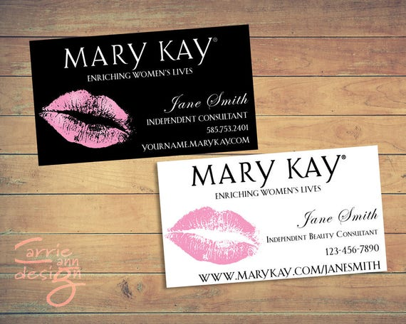 Mary Kay Business Cards printable lips pink cust