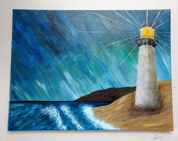 """Light House Acrylic Painting """"Light House in a Storm"""""""