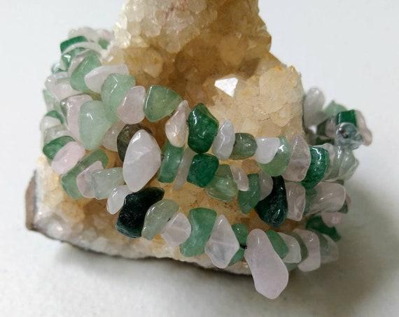 Green Aventurine & Rose Quartz Stacking Cuff Memory Wire Bracelet