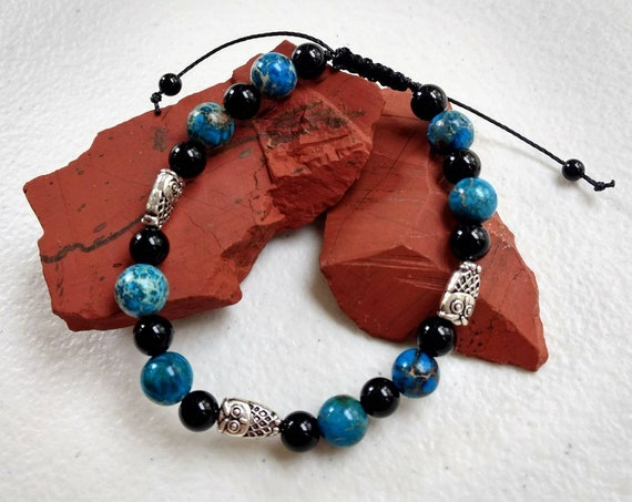 Onyx & Blue Imperial Jasper and Owl accent beads Adjustable Shamballa Bracelet