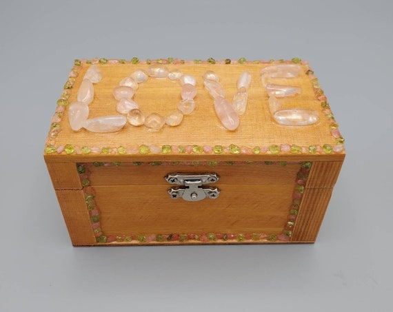 Rose Quartz and Peridot embellished Wood Box/Stash Box/Jewelry Box/Crystal Box/Heart Chakra/Love