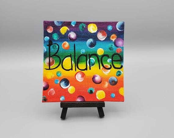 "Rainbow Chakra Colors Inspirational Acrylic Painting with the word ""Balance"""
