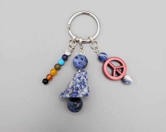 Sodalite Peace Sign Chakra Balancing Rainbow Key Chain