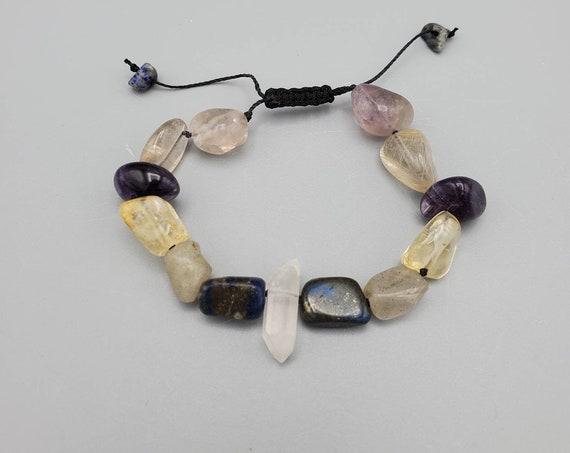 Enlightenment Adjustable Bracelet with Quartz Point, Lapis Lazuli, Labradorite, Citrine, Amethyst, Rutilated Quartz, & Rainbow Fluorite