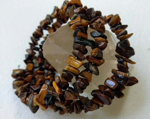 Tiger's Eye Memory Wire Stacking Cuff Bracelet